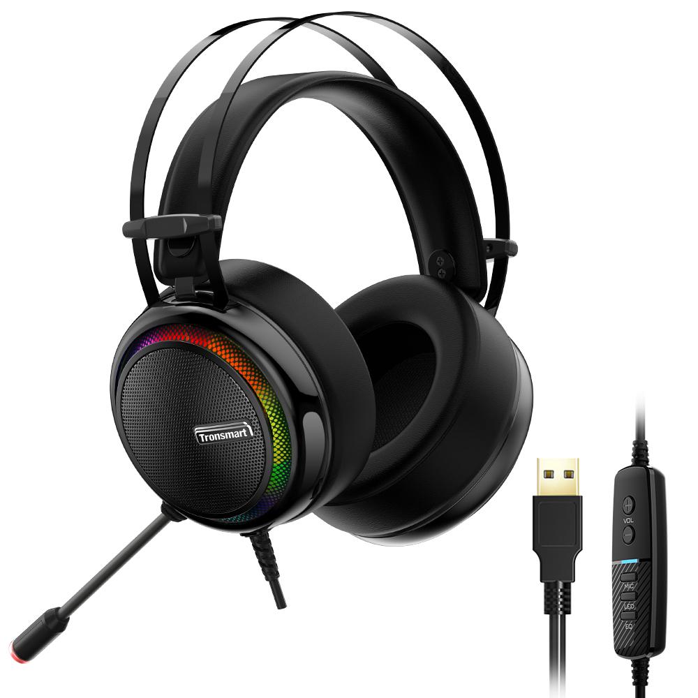 Геймърски слушалки с микрофон Tronmsart Glary – 7.1 virtual surround, RGB подсветка, Radiant Software, USB