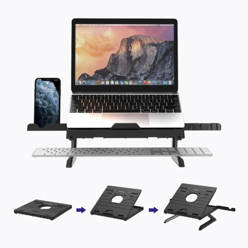 Стойка за лаптоп, 2 мобилни телефона и клавиатура – от 10 -18 инча черна